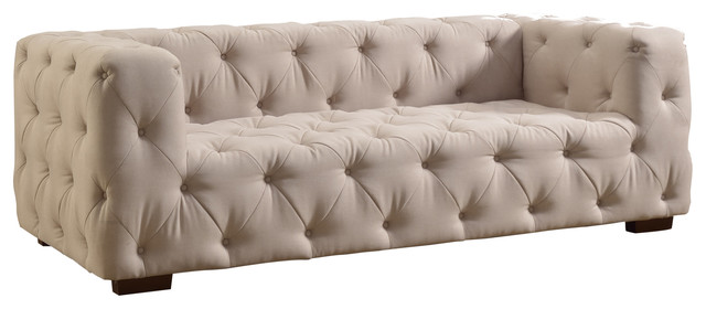 Ordinaire Luxurious Modern Large Tufted Linen Fabric Sofa, Beige