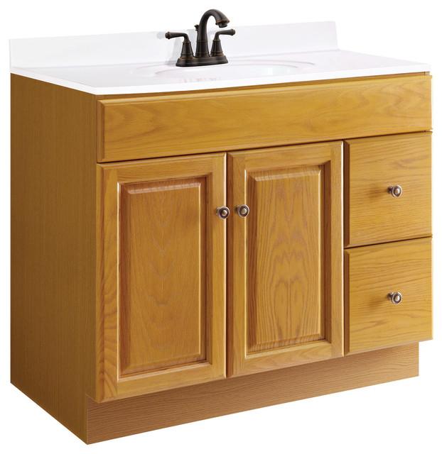 Claremont Unembled 2 Door Drawer Vanity Without Top 36 Honey Oak