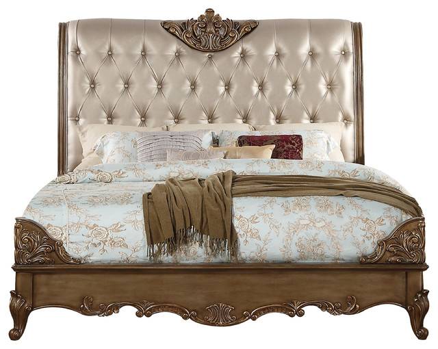 ACME Orianne Queen Bed, Champagne PU and Antique Gold