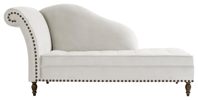 Medici Button-Tufted Chaise Lounge, White, Bronze Tacks