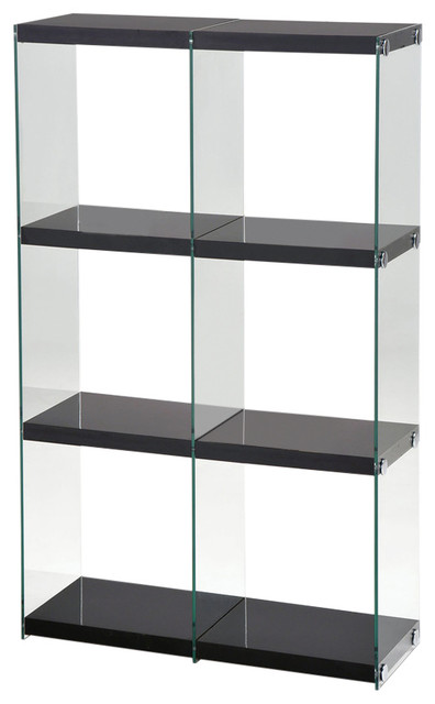 Acme Baxter Bookcase, Black Clear Glass.