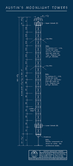 Austin moonlight towers blueprint art vertical tower contemporary austin moonlight towers blueprint art vertical tower 12x27 contemporary prints malvernweather
