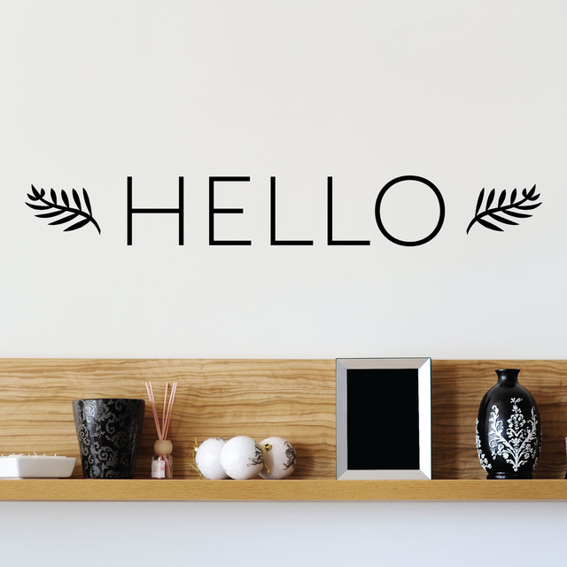 Contemporary Foyer Quotes : Hello leaves entryway front door wall quotes decal
