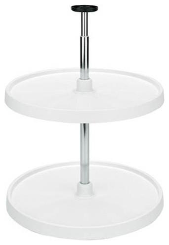 Hardware Resources PLSR218 18in Full Circle Lazy Susan Two Shelf Set White