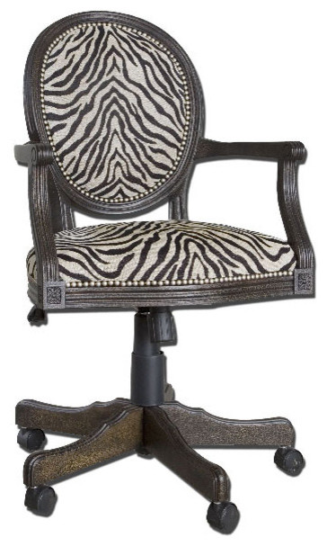 Uttermost Yalena Desk Chair In Distressed Black W/ Dark Espresso.