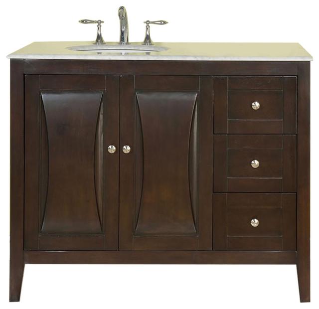 Harriet single sink bathroom vanity white carrara marble for Marble top console sink