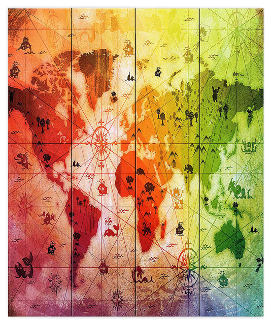 DiaNoche Wood Plank Wall Art by Angelina Vick Whimsical World Map ...