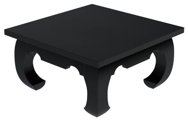 Ming Asian Black Solid Wood Square