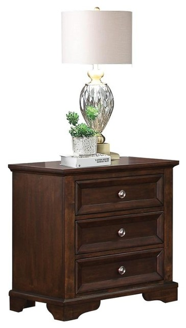 Elkwood Rustic Country 3 Drawer Nightstand, Espresso by HEFX Furniture