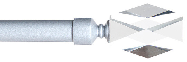 Lavish Home Faceted Glass Curtain Rod 3/4 Inch, Silver.