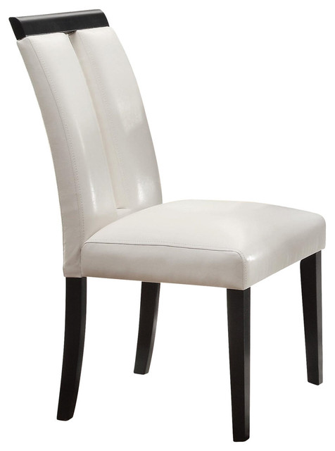 Kenneth Contemporary Side Chairs, White Vinyl, Set Of 2 Contemporary Dining  Chairs