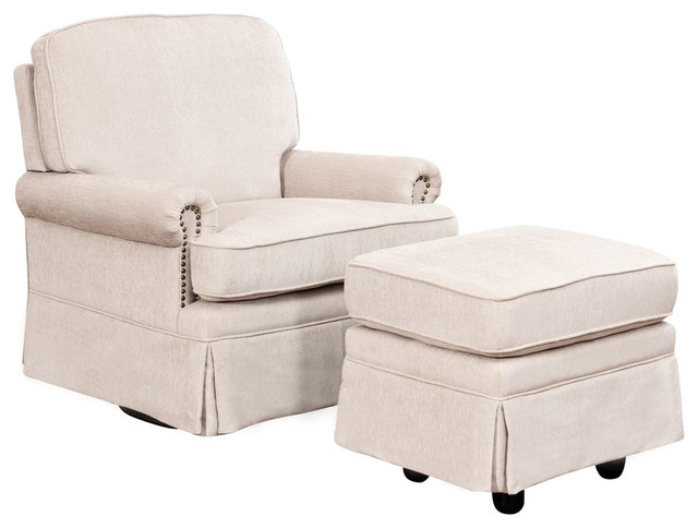 Gentil Abbyson Living Farrah Swivel Glider Chair And Gliding Ottoman, Cream    Transitional   Gliders   By Homesquare