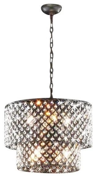Antique Bronze 8 Light Double Round Crystal Chandelier