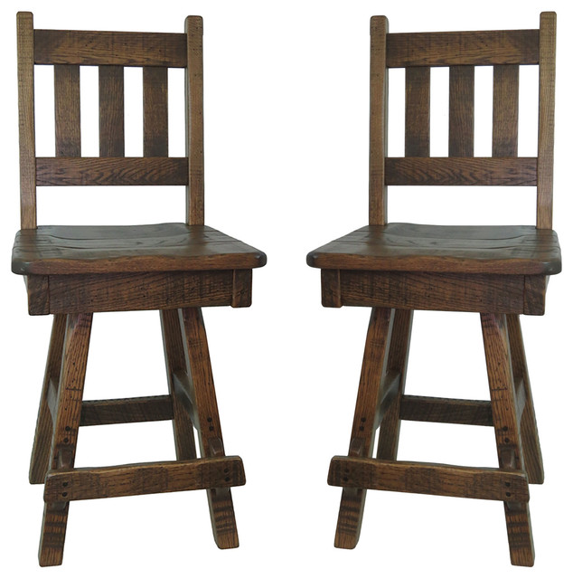 Superb Swivel Barn Wood Bar Stool With Slat Back Set Of 2 24 Counter Height Pdpeps Interior Chair Design Pdpepsorg