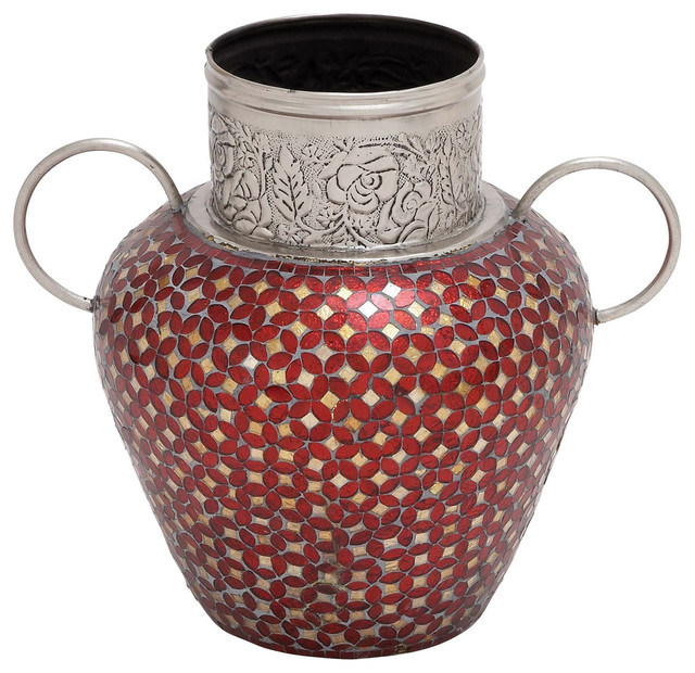 Decorative Metal Glass Mosaic Vase With 2 Handles Traditional