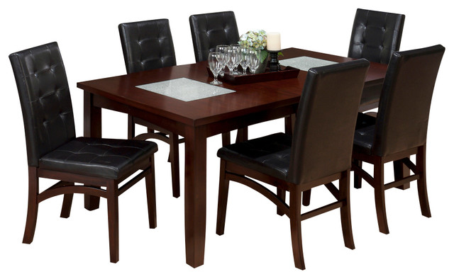 Jofran 863 72 Chadwick 7 Piece Rectangle Extension Dining Room Set In Espresso