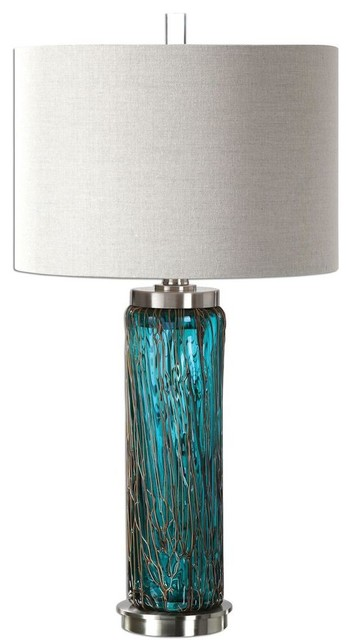 Uttermost Almanzora Blue Glass Lamp.
