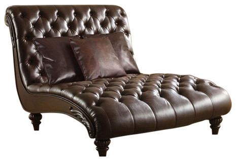 Shop houzz preston 2 tone espresso bi cast leather for 2 person chaise lounge indoor