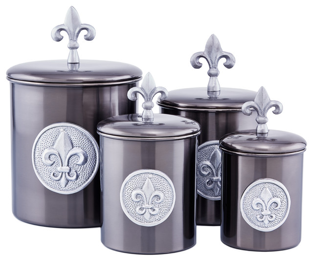 4 Piece Antique Pewter Fleur De Lis Canister Set With Fresh Seal Covers Mediterranean Kitchen Canisters And Jars By Old Dutch