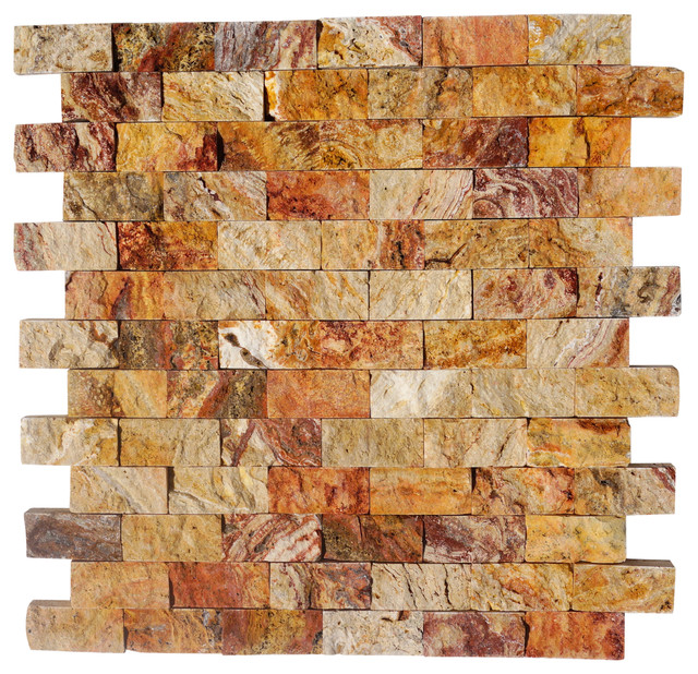 12 X12 Scabos Travertine Tuscany Scabas Split Faced Mosaic Tiles Set