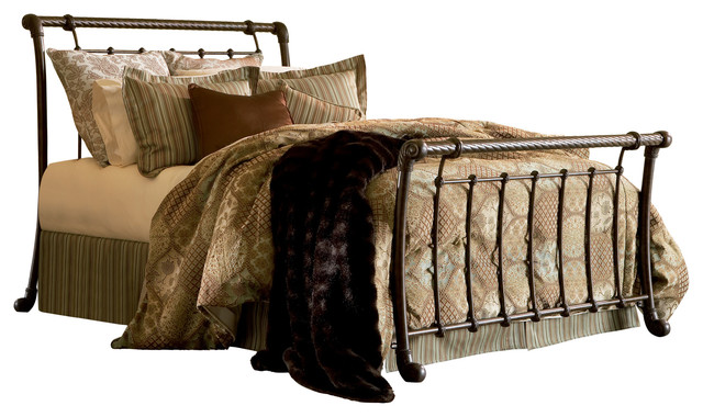 Viola Sleigh Bed, Gold, Queen.