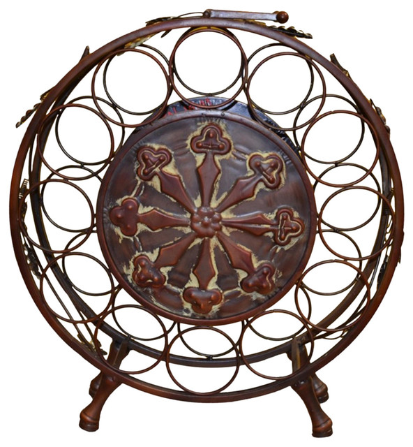 Traditional Style Metal Wine Rack, Brown.