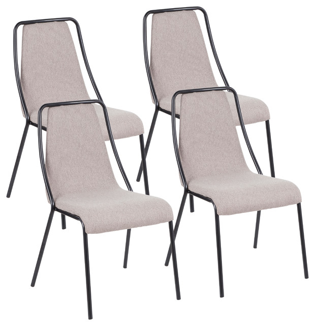 Katana Contemporary Chair With Black Metal, Set of 4, Brown Fabric