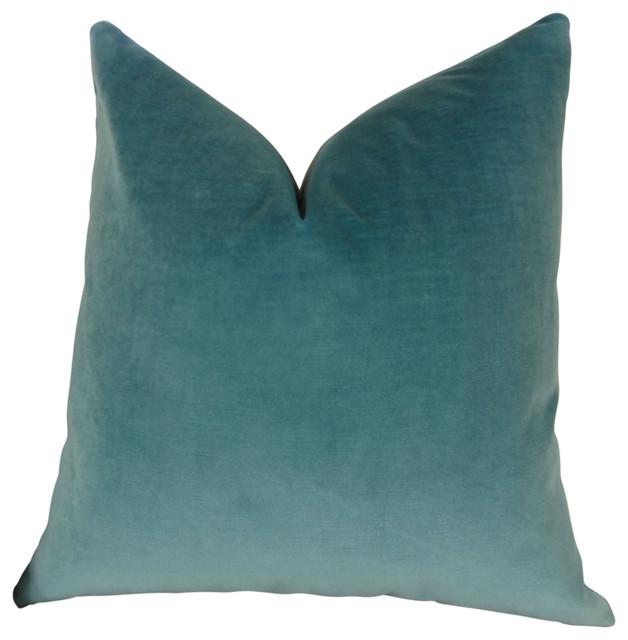 Luxury Decorative Pillow Collection : Thomas Collection Teal Luxury Velvet Throw Pillow, 11381 - Contemporary - Decorative Pillows ...