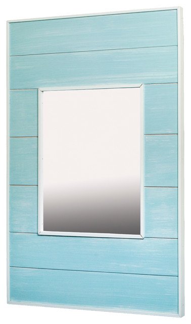 14x24 Fox Hollow Furnishings Mirrored Medicine Cabinet, Seabreeze Blue.