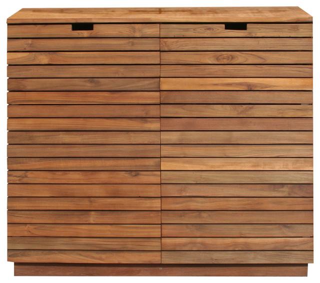 Recycled Teak Wood Dresser With 2 Doors 2 Drawers