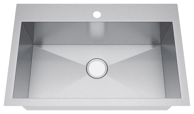 "Top Mount Stainless Steel Kitchen Sinks exclusive heritage 33""x22"" single bowl topmount stainless steel"