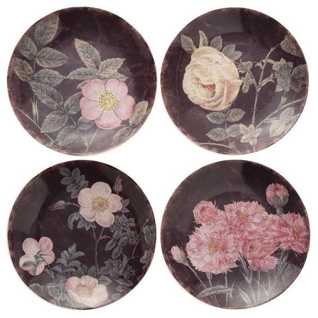 "8"" Round Rose Stoneware Plates"