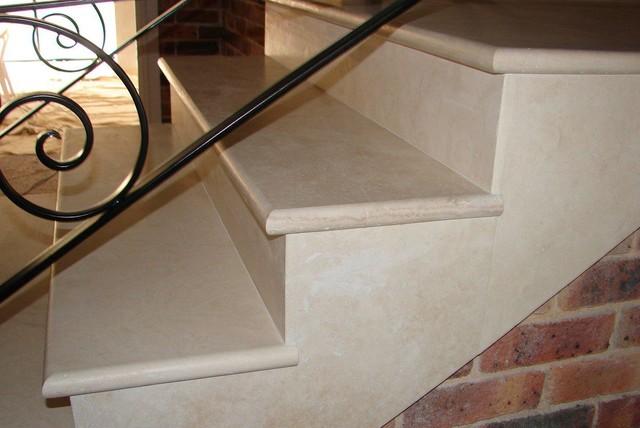 Beautiful Travertine Stair Treads Transitional