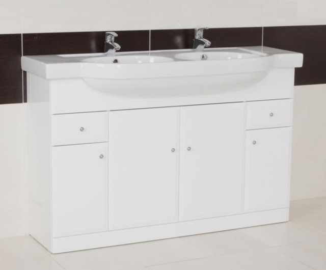 Arm Gloss White Double Bowl Vanity Unit Contemporary Bathroom Vanity Unit