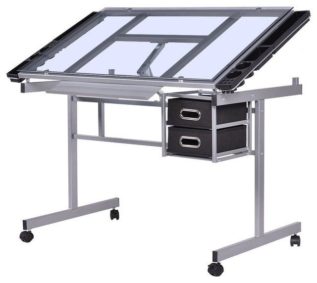 Modern Adjustable Rolling Drawing Desk Drafting With Table Tempered Glass Top.
