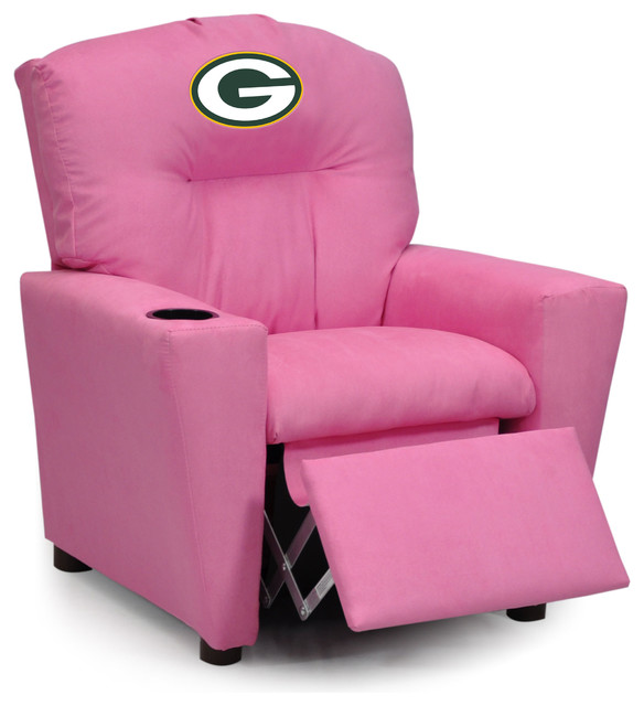 Green Bay Packers Pink Kids Recliner Traditional Game Room And Bar