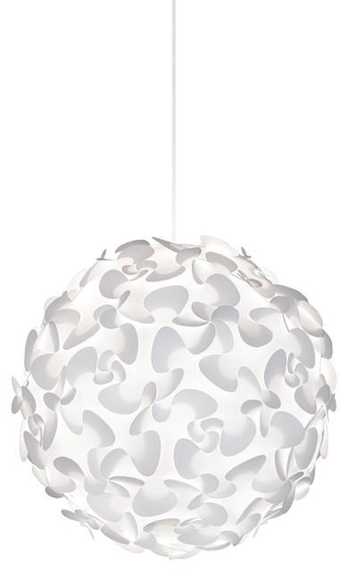 Lora X-Large Globe Plug-In Pendant, White/white.