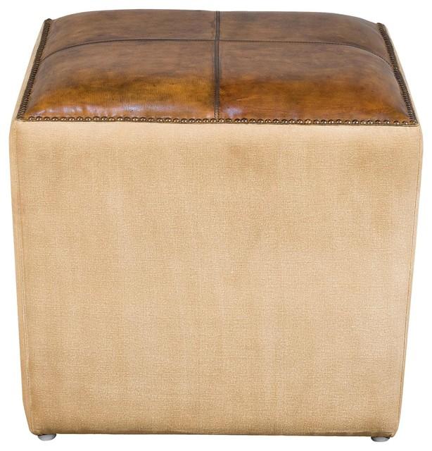 Superb Kely Modern Contemporary Brown Leather Beige Canvas Ottoman Pouf Machost Co Dining Chair Design Ideas Machostcouk