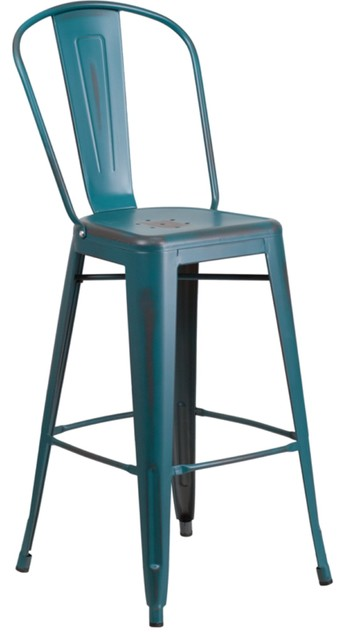 Fantastic 24 High Distressed Orange Metal Indoor Outdoor Counter Height Stool Blue Teal Machost Co Dining Chair Design Ideas Machostcouk