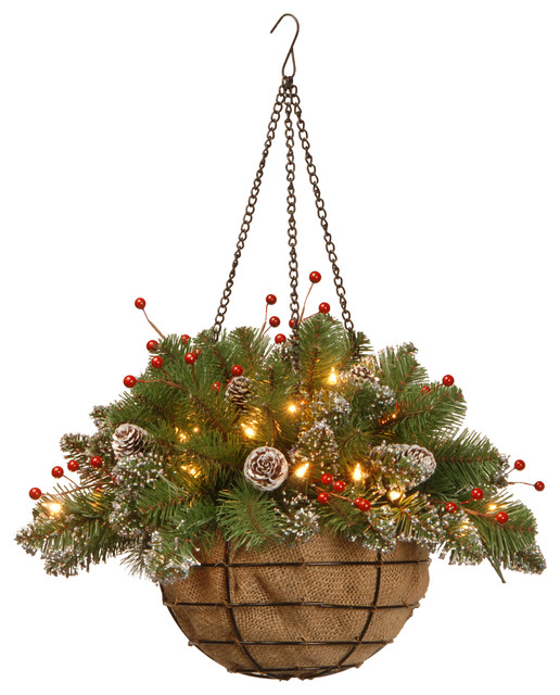 "20"" Glittery Mountain Spruce Hanging Basket, Warm White Led Lights. -1"