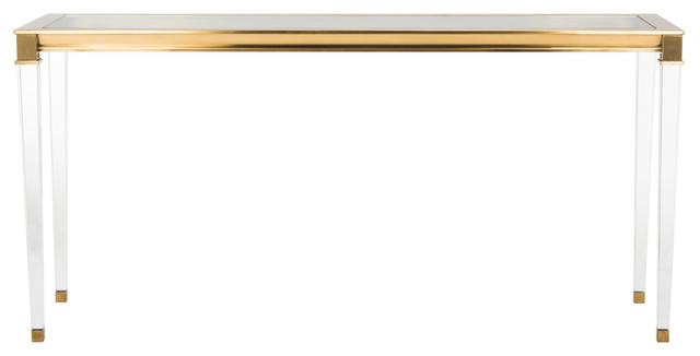 Charleston Acrylic Console Table, Brass