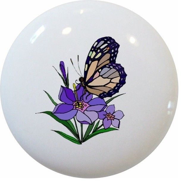 Butterfly Purple Flower Ceramic Knob - Contemporary - Cabinet And Drawer Knobs - by Carolina ...