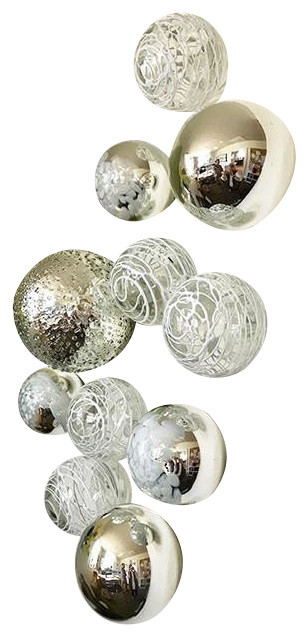 Wall Spheres - Silver & White ~Set of 11