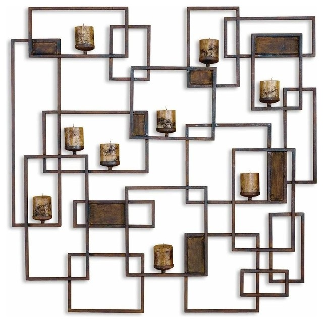 Large Contemporary Geometric Wall Candle Sconce Contemporary Candleholders Part 36