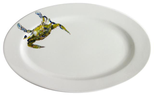 Oval Beautiful Swimmer Serving Platter