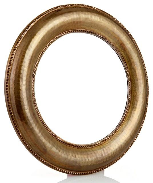 Hammered Round Wall Mirror, Antique Brass.