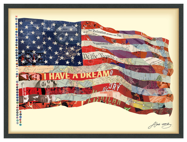 American Flag Handmade Collage Framed Graphic Wall Art Under Glass 30x40 Contemporary Prints And Posters By Empire Art Direct Houzz