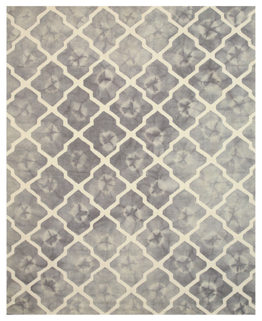 Tufted Wool Tie-Dye Moroccan Rug, Gray, 5&x27;x8&x27;.