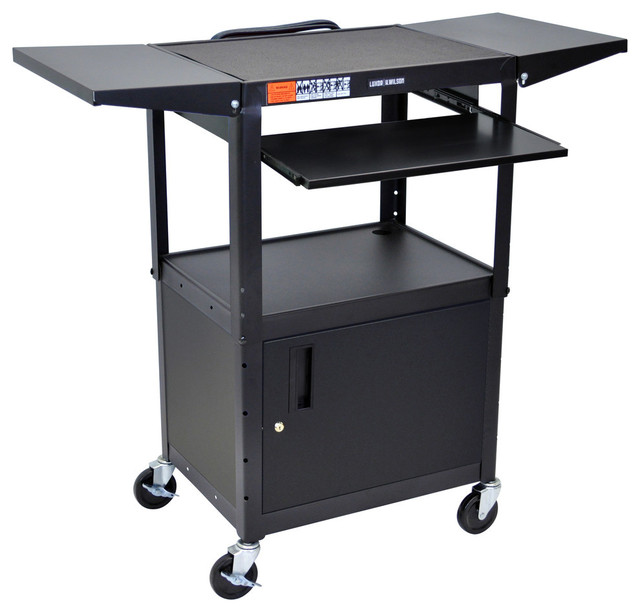 Height Adjustable Steel A/V Cart With Pullout Shelves And Cabinet  Contemporary Office