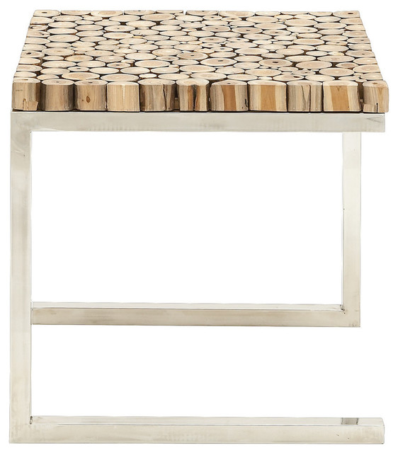 Stainless Steel Teak Wood Side Table Contemporary Outdoor Side Tables